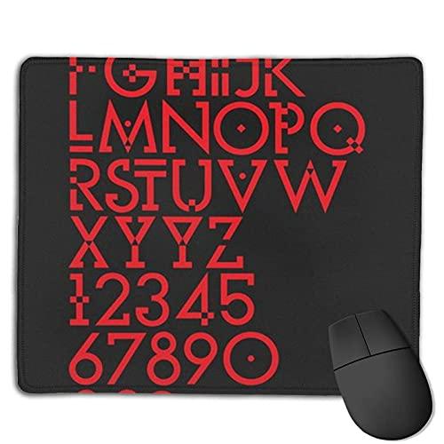 Alfombrilla de ratón con Fuente de Letra roja con Bordes cosidos, Alfombrilla de ratón con Base Antideslizante, Adecuada para el Trabajo, los Juegos, la Oficina, el hogar, 25x30cm