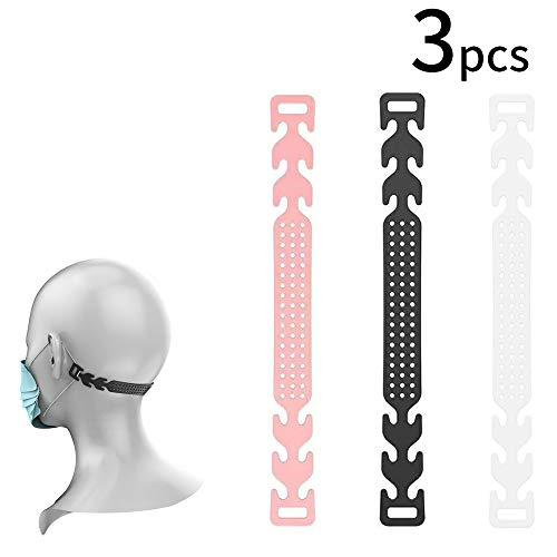 3枚入り マスク用フックベルト 痛みを軽減します 面具不疼 長時間つけても耳が痛くなりにくい 調整可能耳の圧力 補助道具 再利用可能 耳の負担を軽減します マスクフックイヤーウェアタイプ 調節可能な バックルイヤーロープマスク 便利なエクステンションバックル