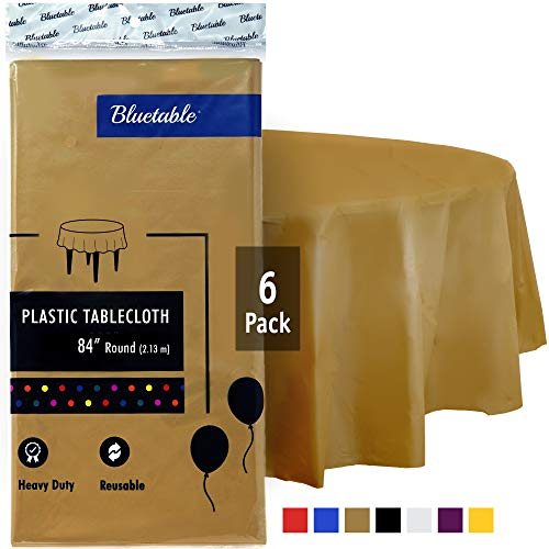 Round Plastic Tablecloth Gold Disposable Table Cloth - Heavy Duty (84 Inches) 4, 5, 6 Foot Round Tables, Party Tablecloths Premium Gold Table Covers Christmas Birthday Parties [6 Pack]