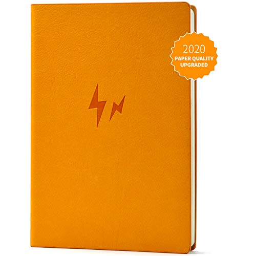 Evolway Fitness Journal and Planner,100 Days Diet and Workout Log, Gray Panther/Yellow Flash/Purple Lotus Design, Leather Cover, Sturdy Binding, Thick Pages & Laminated (Orange2.0)