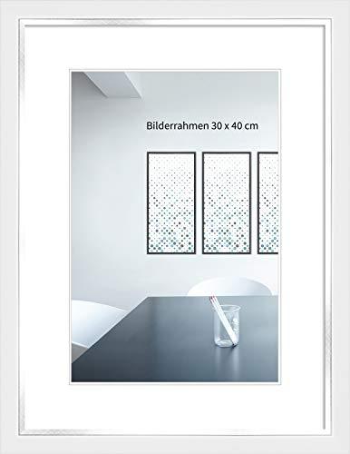 WANDStyle Bilderrahmen Modern 30x40cm I Farbe: Weiß mit Silber-Kante I Fotorahmen I klassischer Bilderrahmen I Made in Germany I H490