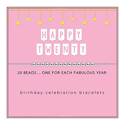 SOLINFOR 20th Birthday Gifts for Girls - Sterling Silver Beads Bracelet - 20 Beads for 20 Year Old Girl - Jewelry Gift Idea for Her