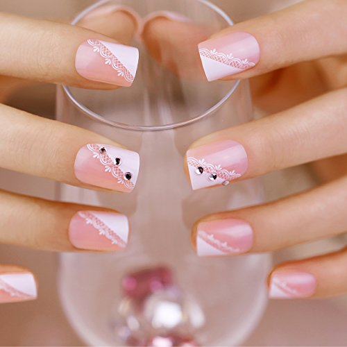ArtPlus Faux Ongles 24pcs x 2 (2-Pack) Pink Lace Crystals Elegant Touch French Manicure False Nails with Glue 2 Boxes in 1 Fake Nails Art