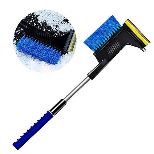 Cepillo de nieve para coche, rascador de hielo 5 en 1, cepillo de nieve extraíble con comodidad antideslizante, herramienta de deshielo para parabrisas de coche, hasta 86 cm, para coches y SUV