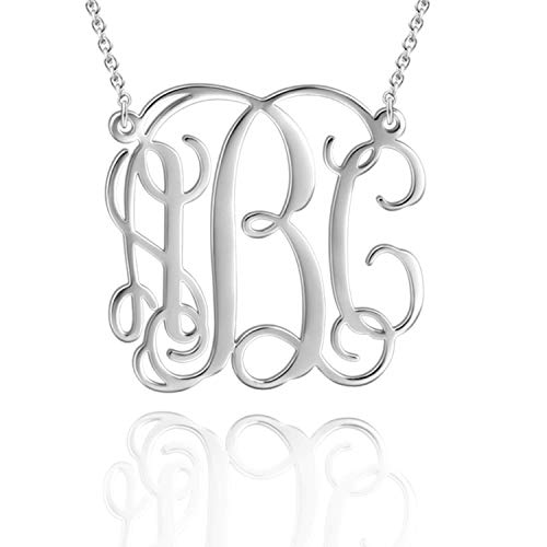 925 Sterling Silver Monogram Necklace Personalized Name Necklace Monogrammed Necklace Custom Name Initial Necklace for Women Girls (Style 1-Copper 18K White Gold Plated)
