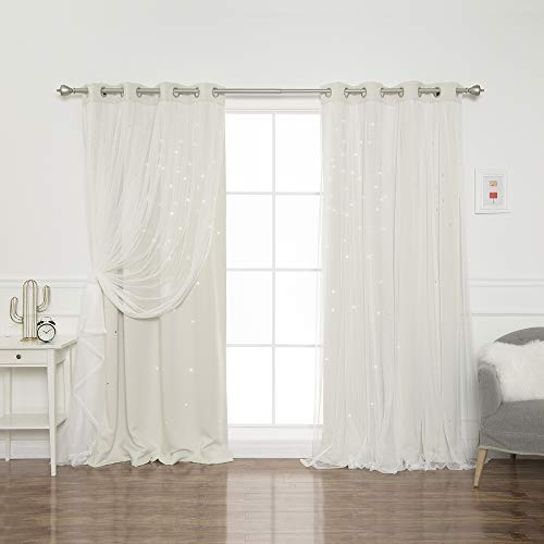 """Best Home Fashion Tulle Overlay Star Cut Out Blackout Curtains (52"""" W x 84"""" L, Biscuit)"""