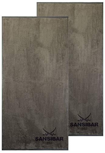 Sansibar Duschtuch 2er Set Doubleface Handtuch Frottiertuch Zweifarbig 100% Baumwolle Taupe/Anthrazit
