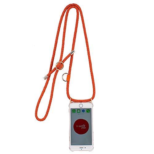 Blee-s /TIANA/Correa de piel de color naranja tejida a mano con correa para el hombro y cuello con funda transparente para teléfono celular