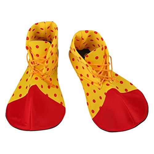 Amosfun Zapatos de Payaso Dot Carnival Props Disfraz de Halloween Zapatos de Payaso para Mujer Hombre Un par de tamaño Promedio (Color Aleatorio)