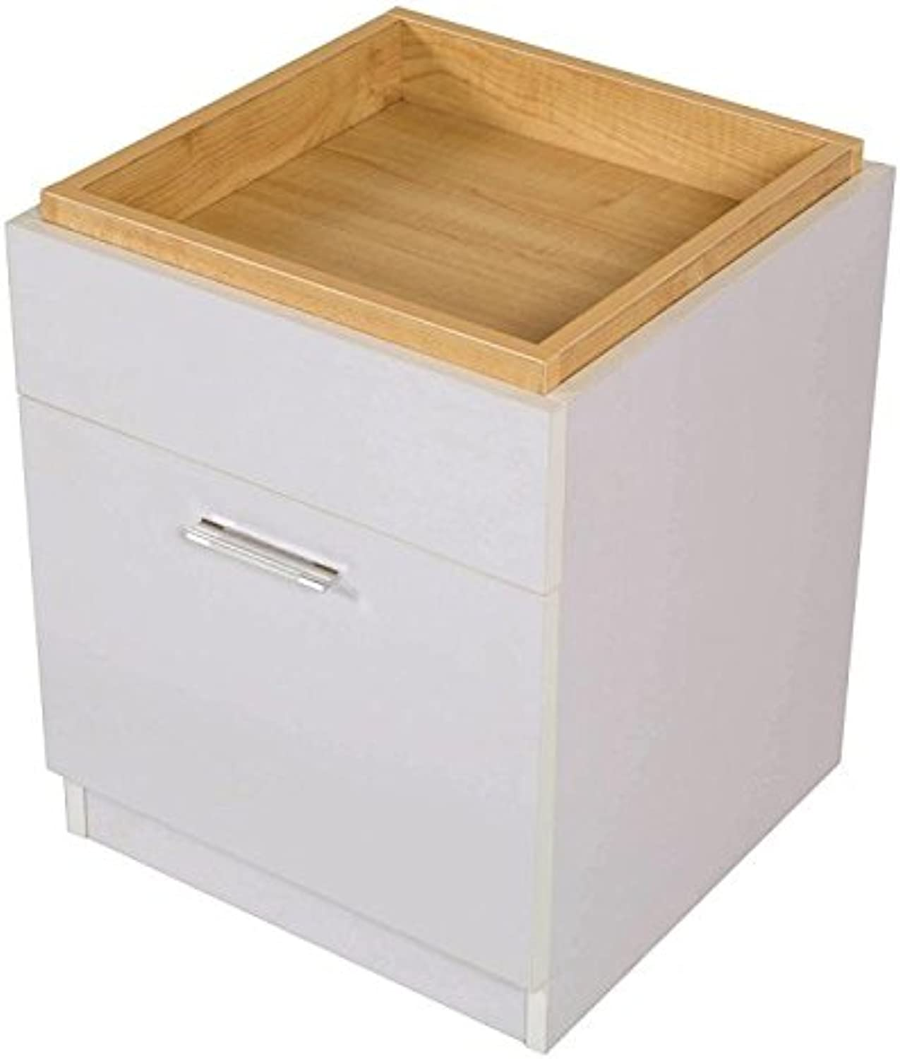 Emily bedside table with storage top & drawer, white