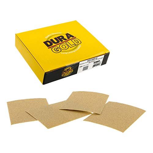 Dura-Gold - Premium - 80 Grit Gold - 1 4 Sheet Hook & Loop Sandpaper 5.5  x 4.5  - For Automotive & Wookworking Palm Sanders - Box of 25