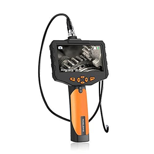 MH-RING Inspección de endoscopio HD, batería de 5000 mAh Endoscopio industrial 5 pulgadas LCD Cámara de inspección digital IP67 Cámara de serpiente de boroscopio 7,6 mm con luces 6LED MicroSD de 32 GB