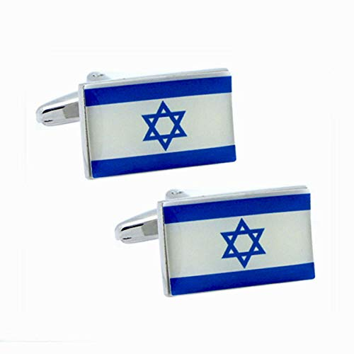 Patch Nation Israel israelische Flagge Metall Cosplay Cufflinks Manschettenknöpfe