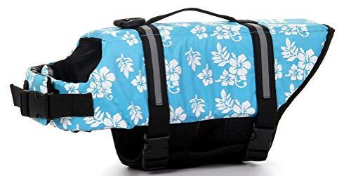 ChezAbbey Hunde-Schwimmweste, verstellbar, für Schwimmen und Bootfahren, XX-Small, blaue blume