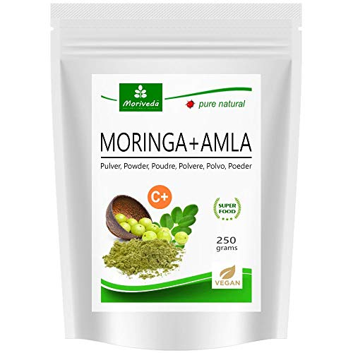MoriVeda - Moringa+Amla Powder - Moringa Oleifera Premium Leaf Powder and Amla (Amalaki) Fruit Powder, Vegan, microfine grinded (1x250g)