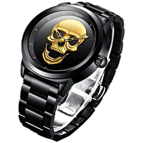 Herrenuhr, Armbanduhr, Designer, wasserdicht, Herrenuhr, Stahlband, Totenkopf-Uhren, Analog-Armband, elegantes Geschenk