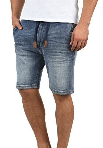Blend Bartels Herren Jeans Shorts Jogger-Denim Kurze Hose Mit Elastischem Bund Und Destroyed-Optik Aus Stretch-Material Slim Fit, Größe:L, Farbe:Denim Lightblue (76200)