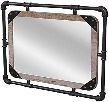 Furniture of America Gee Industrial Metal Wall Mirror in Antique Black