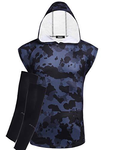 KINGBEGA Men Hooded Tank Tops Gym Hoodies Fitness Vest Sleeveless Hoodie Sweatshirt...