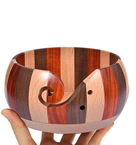 C/N Tazón de almacenamiento de hilo de madera hecho a mano, cuenco de hilo portátil de madera, para ganchillo y otras actividades de manualidades