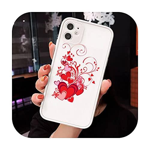 Amor corazón rojo patrón teléfono Carcasas mate transparente para iphone 7 8 11 12 más mini x xs xr pro max lujo marca shell cover-a9-iPhone Xs max