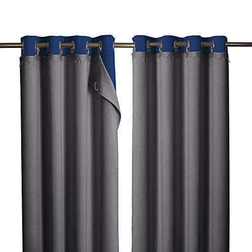 """NICETOWN Blackout Curtain Liners, Black Out Liners for Curtains, Thermal Insulated Curtain Panel Liners for Long Curtains with 16 Bonus Curtain Detachable Rings (2 Panels, 50"""" x 80"""" Per Panel, Grey)"""