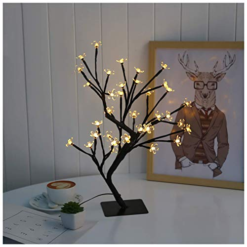 THj Lámpara de árbol de Bonsai, lámpara de árbol de Estilo Bonsai con Flor de Cerezo con 30 Luces de Hadas Blancas cálidas, Base de Metal Cuadrada Estable, luz de árbol de Navidad de 40 cm