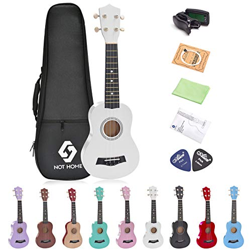 Soprano Ukulele Beginner Pack, 21 Inch Basswood kids Ukuleles Starter Kit with Gig Bag Digital Tuner Spare Strings and Picks. (white)