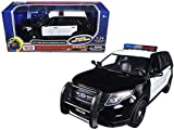 Motormax 79536 2015 Ford Police Interceptor Utility Black & White with Flashing Light bar, Front & Rear Lights & 2 Sounds 1/24 Diecast Model Car