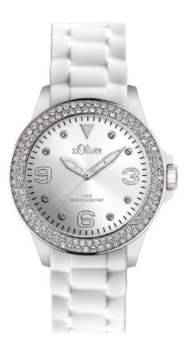 s.Oliver Damen-Armbanduhr Silikon weiß SO-2137-PQ
