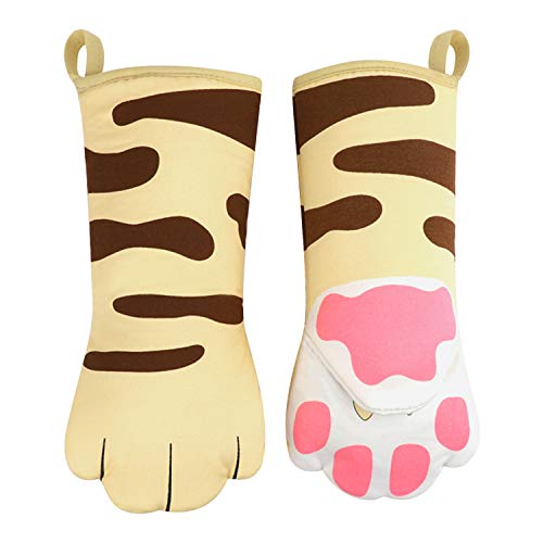 TINAYAUE Oven Mitts Kitten Cat Paw Design Heat Resistant Oven Gloves Thick Cotton Lining Cooking Baking Potholder Gloves Microwave Gloves BBQ Grilling Kitchen Tool Home Decor