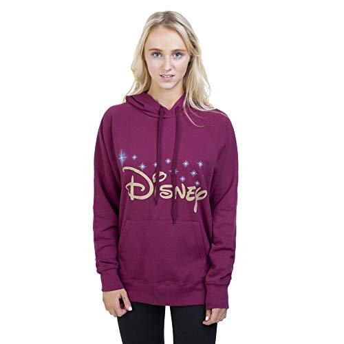 Disney Damen Logo Hoodie Kapuzenpullover, Rot (Burgunderblau), Small