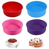 Molde de silicona para hornear de silicona para molde de pastel redondo de 4 piezas para hornear muere 6 '' (azul / rojo / púrpura / rosa)