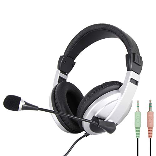 conference headsets 2 VCOM Computer Headset with Separate Microphone and Headphone Jacks, 6.9 Feet Cord Wired Over Ear Stereo Headphones for Desktop PC K12 School Classroom Home Office Business Conference Skype Video Chat