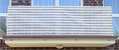 Smart Deko Grau&Weiß 6x0,9m Balkonsichtschutz, Balkonverkleidung, Windschutz, Sichtschutz und UV-Schutz für Balkon, Gartenanlagen, Camping und Freizeit (78831)