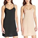 Bahucharaji Creation Women's Seamless Long Camisole Fitted Slip with Spaghetti Straps Tank Top(2 Piece:Beige-Black)