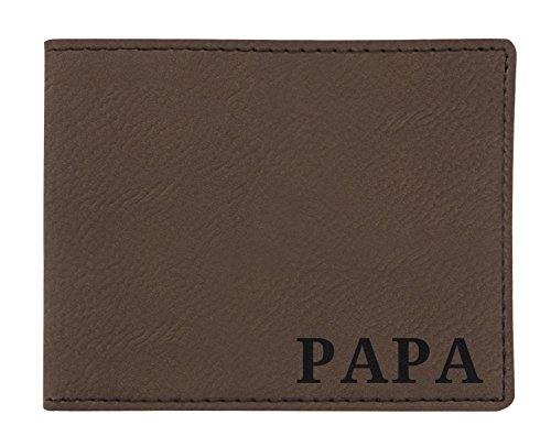 Birthday Gifts for Papa Engraved Wallet Retirement Gifts for Papa Birthday Gifts Laser Engraved Leatherette Bifold Wallet Brown