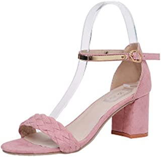 Women's Classic Mid Heel Chunky Block Pump Sandals with Ankle Strap Dress Shoes