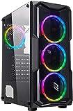 Noua Smash S2 Black Case ATX PC Gaming 0.45MM SPCC 3*USB3.0/2.0 Frontale Plexiglass 4 Ventole Dual Halo RGB Rainbow Addressable 5V ADD Pannello Laterale in Vetro Temperato (AxPxL: 450x370x195 mm)