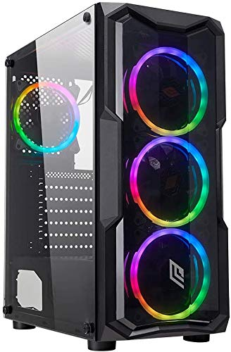 Noua Smash S2 Black Case ATX PC Gaming 0.45MM SPCC 3*USB3.0/2.0 Frontale Plexiglass 4 Ventole PWM Dual Halo RGB Rainbow Addressable 5V ADD Pannello Laterale in Vetro Temperato (AxPxL: 450x370x195 mm)
