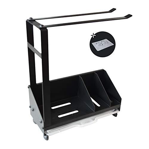 Usmoscat - Organizador de Fregadero de Cocina, Soporte de Esponja con toallero, con Bandeja de Drenaje, para Fregadero de Cocina o Cuarto de baño… (Negro)