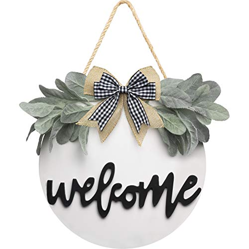 Welcome Wreath Sign for Farmhouse Front Porch Decor, Rustic Door Hangers Front Door with Premium Greenery-Front Door Welcome Wreath Hanging Housewarming for Home Decoration(White)