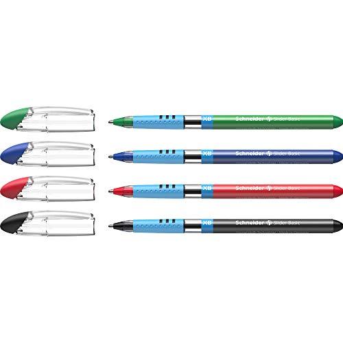 Schneider Slider Basic Kugelschreiber (Kappenmodell mit Soft-Grip-Zone und der Strichstärke XB=Extrabreit, schwarz dokumentenecht) 4er Etui Grundfarben