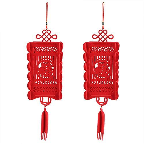 Cikonielf 2 Stück rote traditionelle chinesische Laternen Neujahr Frühlingsfest Partydekorationen Gartenhaus Innenhof Hochzeitszimmer Zubehör