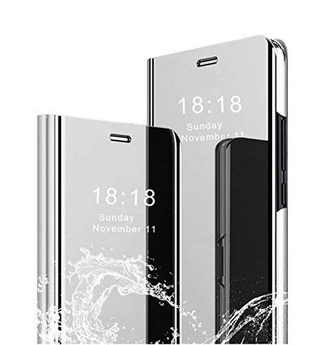 MLOTECH Compatibles Funda para Samsung S9 Plus,Funda + Protector de Pantalla Flip Clear View Translúcido Espejo Standing Cover Slim Fit Anti-Shock Anti-Rasguño Mirror Cubierta Plata