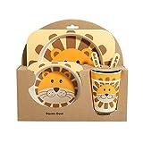 Lionina - Vajilla infantil con cuenco + plato + cuchara + tenedores + taza, fibra de bambú no tóxica, resistente al calor, vajilla para bebé/niños/niños/bebés/Trottie, 2, Tamaño libre