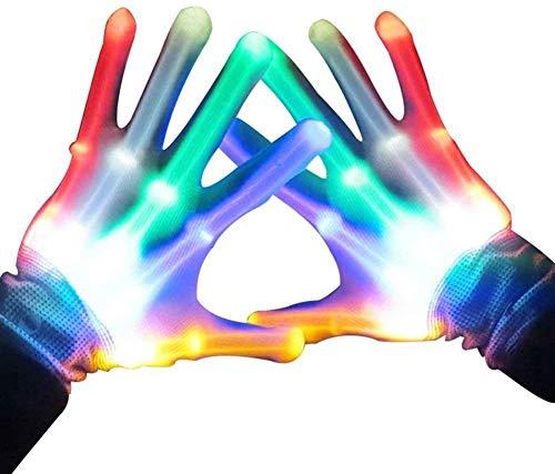 Anzmtosn Rock LED Fingerlicht Handschuhe leuchten blinkende Skeletthandschuhe Jungen Spielzeug Kinder Erwachsene Lichtshow Weihnachten Weihnachten Karaoke Party Supplies Zubehör Gefälligkeiten
