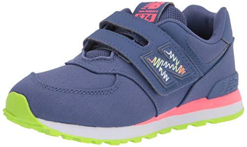 New Balance 574 V1 Scribble Hook and Loop Sneaker, Magnetic Blue/Guava, 1.5 Wide US Unisex Little_Kid