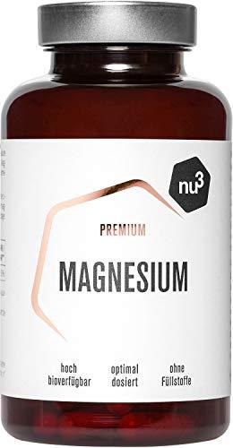 nu3 Premium Magnesium - 120 Kapseln - 378 mg Magnesium pro 2 Kapseln - hohe Bioverfügbarkeit - Vegane Kapsel - organisches Magnesiumcitrat - sehr rein und ohne Füllstoffe oder Farbstoffe