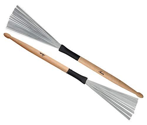 XDrum WTD-1S Wire Tap Drumstick Brushes kurz (Drumstick-Jazzbesen kombination, Besen und Sticks in einem, vielseitig einsetzbar, Gesamtlänge: 37cm, Besenspannweite: 6,5cm)